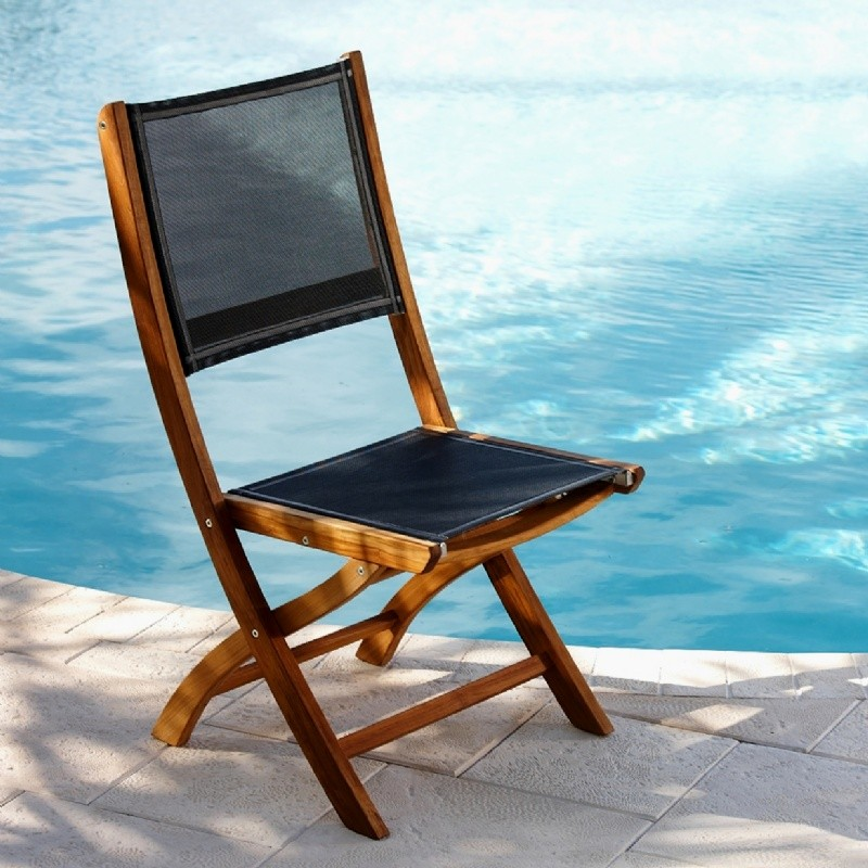Black Resin Patio Chairs: Teak Folding Outdoor Chair with Black Mesh Sling