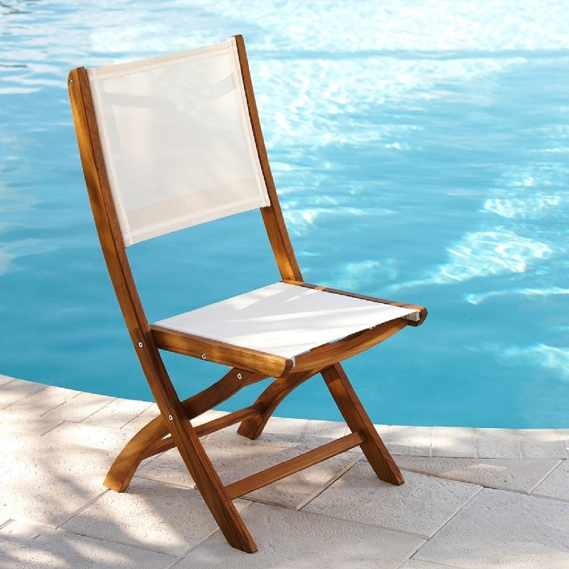 Alpine Design Outdoor Folding Chair: Teak Folding Outdoor Chair with Ivory Mesh Sling