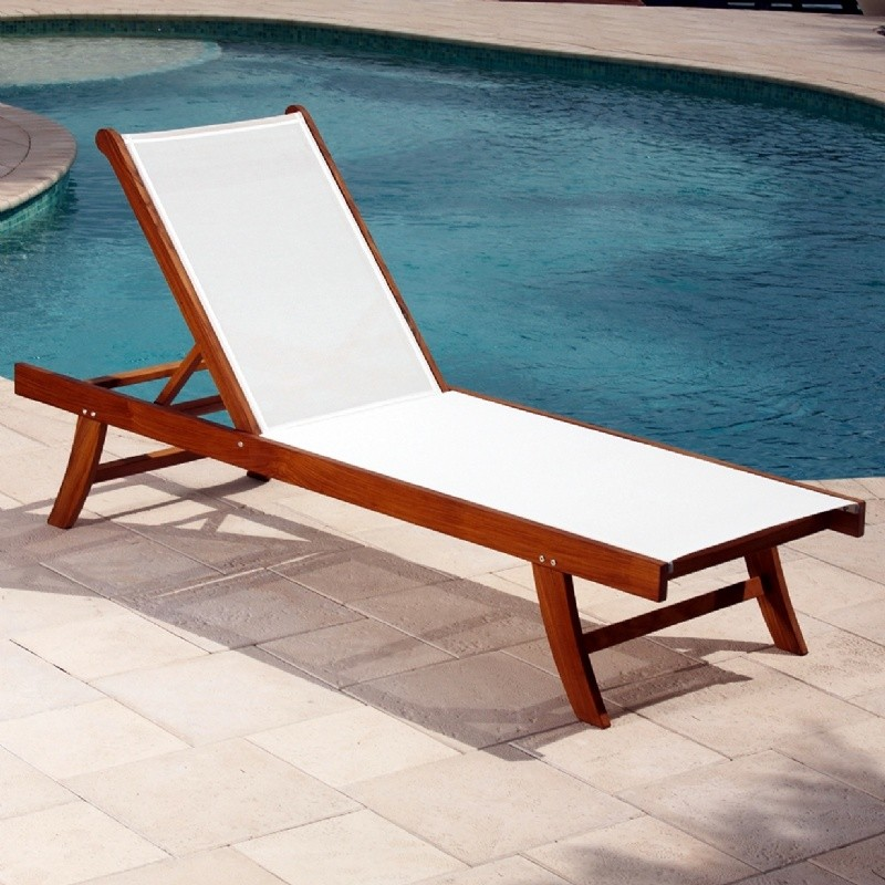 White Metal Patio Chairs: Teak Outdoor Chaise with White Mesh Sling