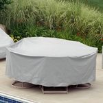 "60"" Round Table 6 HB/ST Chairs Patio Furniture Cover - Gray PC1349"