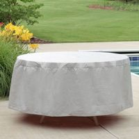 "72"" - 76"" Oval or Rectangular Outdoor Patio Table Cover - Gray PC1150"