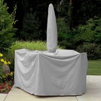 "80"" to 96"" Table 6 HB Chairs Patio Set Cover w/Umbrella Hole - Gray PC1148"