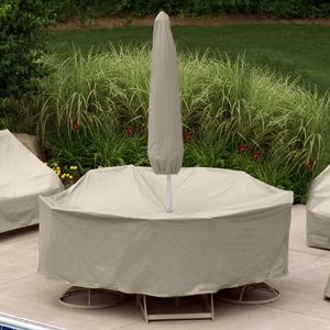 "48"" to 54"" Round Table 4-6 HB Chairs Set Cover w/Umbrella Hole PC1159-TN"