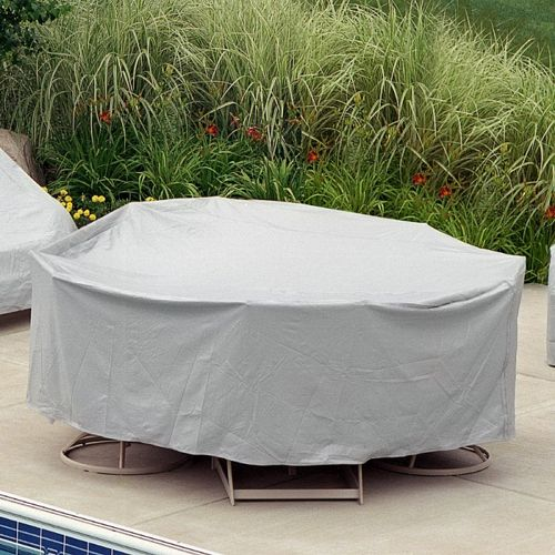 "60"" Round Table 6 HB/ST Chairs Patio Furniture Cover - Gray PC1349-GR"