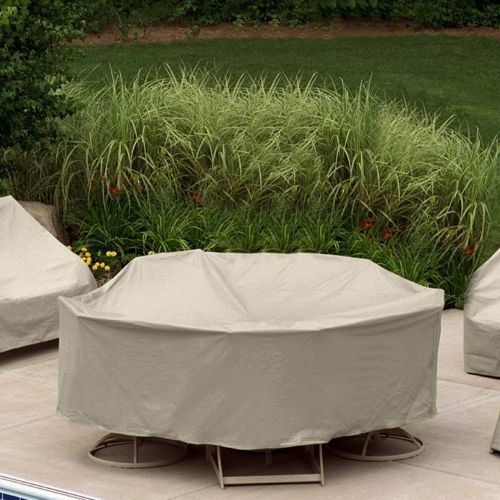 "60"" Round Table 6 HB/ST Chairs Patio Furniture Cover PC1349-TN"