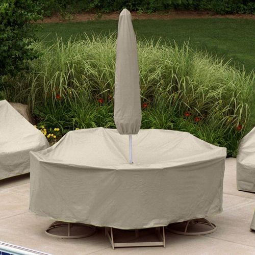 "60"" Round Table 6 HB/ST Chairs Set Cover w/Umbrella Hole PC1149-TN"