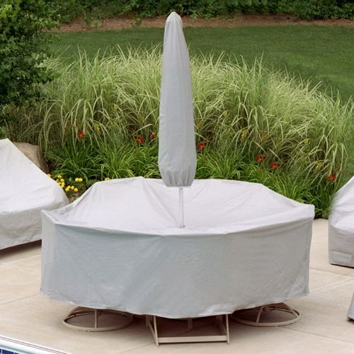 "80"" to 96"" Table 6 Chairs Patio Set Cover w/Umbrella Hole - Gray PC1151-GR"