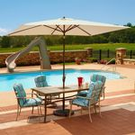 Adriatic 6.5' x 10' Rectangle Autotilt Market Umbrella - Champagne Linen Sunbrella NU5433CH