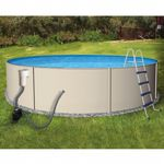 Blue Lagoon Steel Above Ground Pool Complete Package 15 Ft. Round 52 inch Deep NB1063