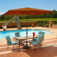 Adriatic 6.5' × 10' Rectangle Autotilt Market Umbrella - Terra Cotta Sunbrella NU5433TC
