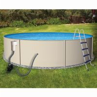 Blue Lagoon Steel Above Ground Pool Complete Package 24 Ft. Round 52 inch Deep NB1067