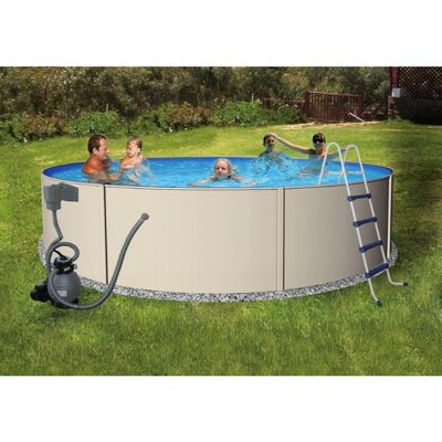 Blue Lagoon Steel Above Ground Pool Complete Package 12 Ft Round 48 Inch Deep Nb1061 Cozydays