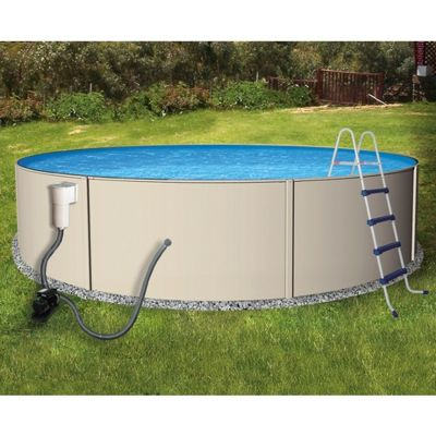 Blue Lagoon Steel Above Ground Pool Complete Package 18 Ft. Round 52 inch Deep NB1065