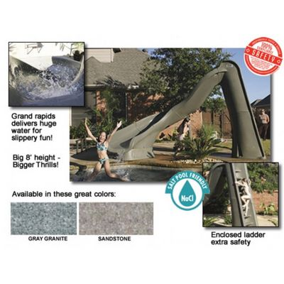 Turbotwister Pool Slide Right Turn 8 Feet Gray Granite NE738