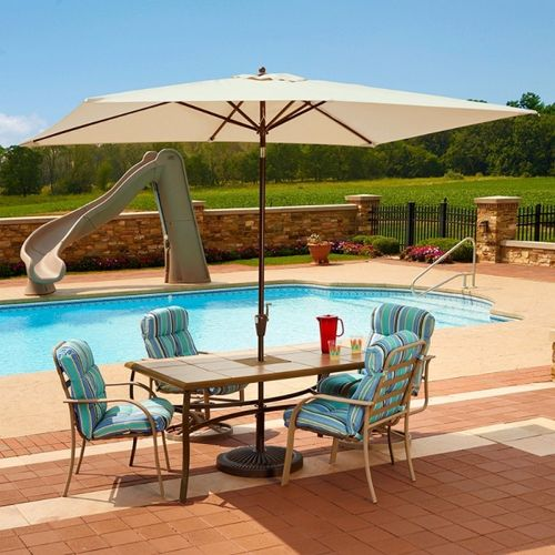 Adriatic 6.5' × 10' Rectangle Autotilt Market Umbrella - Champagne Linen Sunbrella NU5433CH