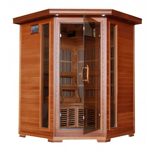 Cedar Hudson Bay 3 Person FAR Infrared Corner Sauna with Carbon Heaters SA1312