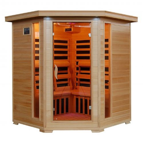 Hemlock Tucson 4 Person FAR Infrared Corner Sauna with Carbon Heaters SA2420DX