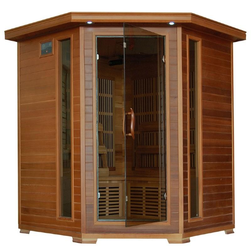 Cedar Whistler 4 Person FAR Infrared Corner Sauna with Carbon Heaters