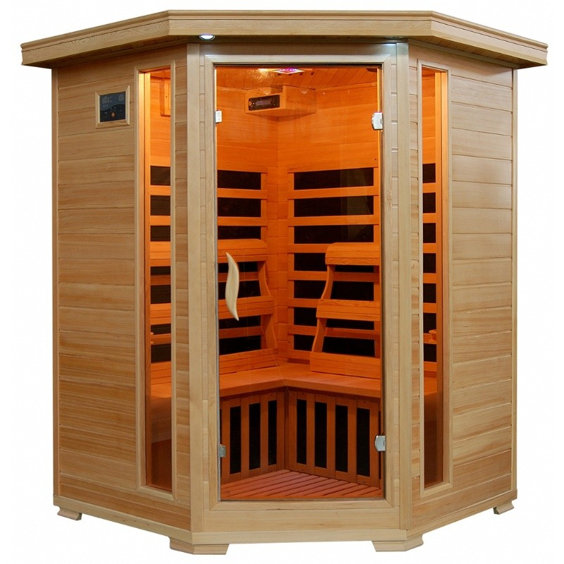 Hemlock Sante Fe 3 Person FAR Infrared Corner Sauna with Carbon Heaters