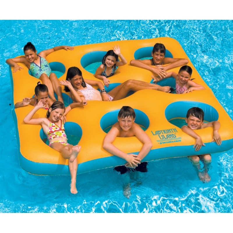 6 8 People Inflatable Floats: Labyrinth Island Pool and Lake Raft