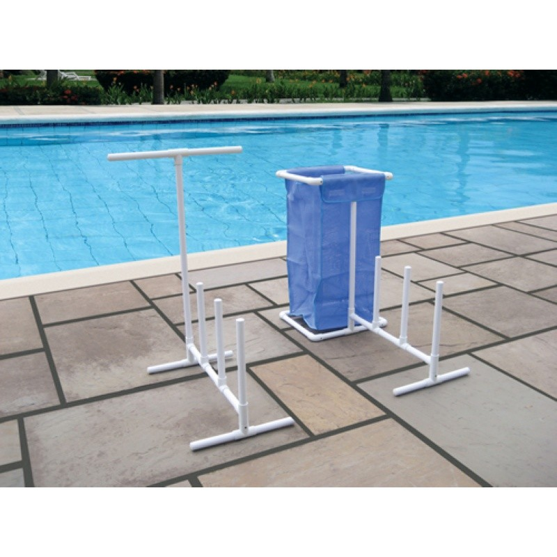 Pool Area Storage, Float Storage: Pool Float Organizer with Hamper and Towel Hanger