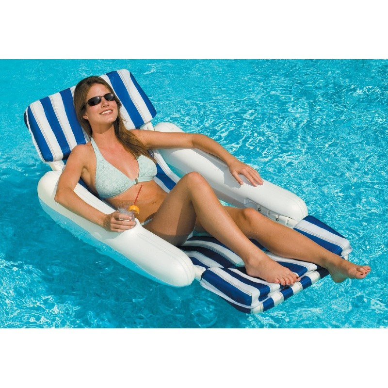 Aqua Leisure Recliner Fabric Comfort Lounge Floating Pool Chair: Sunchaser Padded Sling Pool Lounge