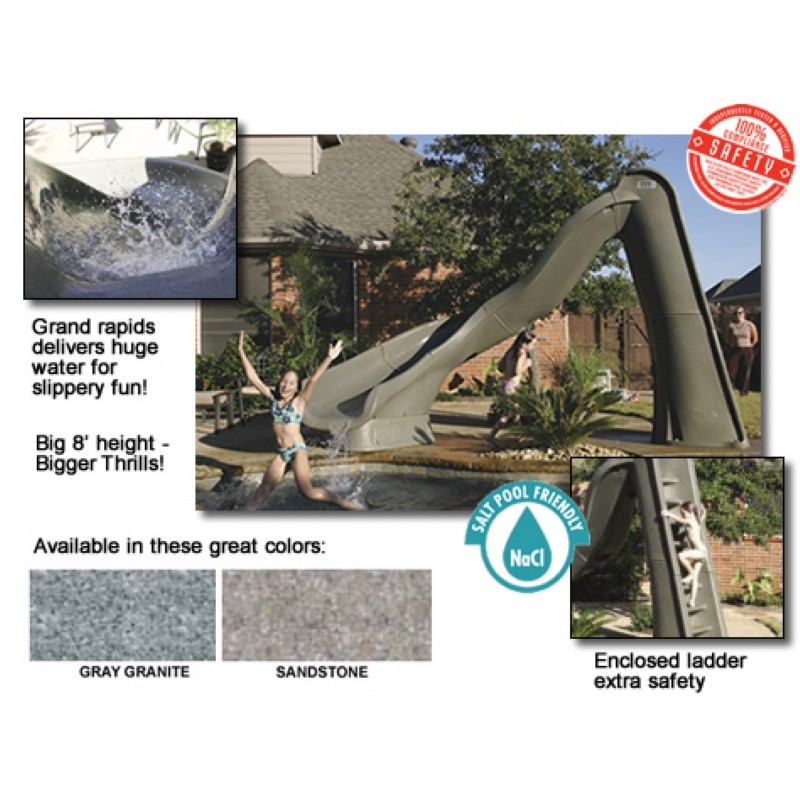 Pool Slides, Water Slides: Turbo Twister Pool Slide Left Turn 8 Feet Gray Granite