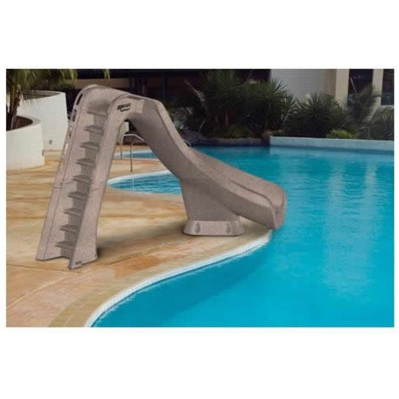 Inflatable Water Slides, Pool Slides: Typhoon Pool Water Slide Left Turn 7 Feet Gray Granite