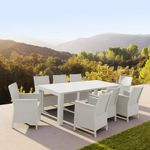 California Extendable Dining Set 9 Piece White ISP8066S