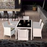 California Wickerlook Resin Patio Dining Set 7 Piece White ISP8063S