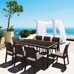 Florida Wickerlook Resin Patio Dining Set 9 Piece Rectangle Brown ISP816S9