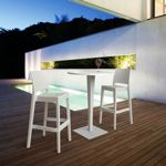 Jamaica Wickerlook Outdoor Bar Set White with Round Bar Table 28 inch ISP981R