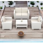 Monaco Wickerlook 4 Piece Loveseat Deep Seating Set White with Cushion ISP835