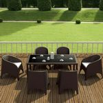 Aruba Wickerlook Resin Patio Dining Set 7 Piece Rectangle Brown ISP8042S