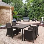 California Wickerlook Resin 55 inch Patio Dining Set 5 Piece Brown ISP8064S