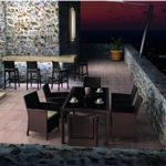California Wickerlook Resin Patio Dining Set 7 Piece Brown ISP8063S