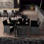 California Wickerlook Resin Patio Dining Set 7 Piece Dark Gray ISP8063S