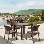 Daytona Wickerlook Square Patio Dining Set 5 Piece Brown ISP8181S