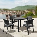 Daytona Wickerlook Square Patio Dining Set 5 Piece Dark Gray ISP8181S