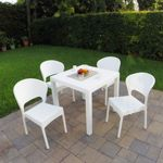 Daytona Wickerlook Square Patio Dining Set 5 Piece White ISP8181S