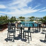 Jamaica Wickerlook Outdoor Bar Set Dark Gray with Round Bar Table 28 inch ISP981R