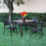 Miami Wickerlook Resin Patio Dining Set 5 Piece Dark Gray with Side Chairs ISP992S