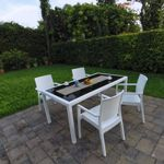 Miami Wickerlook Resin Patio Dining Set 5 Piece Rectangle White ISP995S