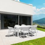 Panama Extendable Patio Dining Set 7 piece White ISP8082S