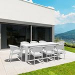 Panama Extendable Patio Dining Set 9 piece White ISP8083S