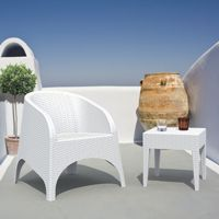 Aruba Wickerlook Resin Balcony Furniture Set 3 Piece White ISP8041S