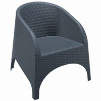 Aruba Wickerlook Resin Patio Chair Dark Gray ISP804