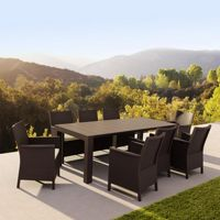California Extendable Dining Set 9 Piece Brown ISP8066S