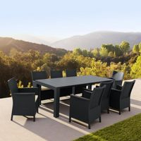 California Extendable Dining Set 9 Piece Dark Gray ISP8066S
