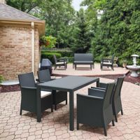 California Wickerlook Resin 55 inch Patio Dining Set 5 Piece Dark Gray ISP8064S